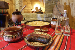 Traditional Bulgarian table (trapeza)