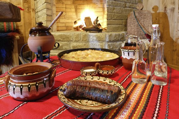 Traditional Bulgarian table - sofra, trapeza